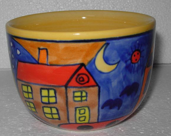 Picture of Abstract Bowl with City picture  - GZB021