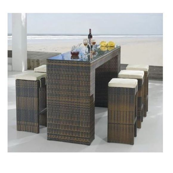 Picture of Rattan Outdoor Furniture 7 Piece Bar Setting