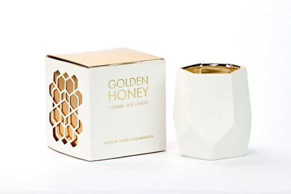 Picture of DL2165 - ABSTRACT WHITE SML 45 HRS GOLDEN HONEY CANDLE