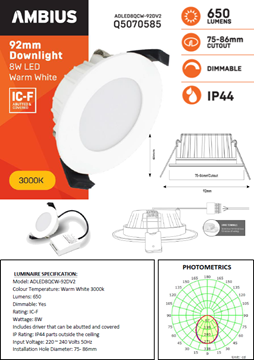 Picture of 8W LED Downlights - 92mm