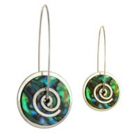Picture of Silver Paua Spiral Drop Earrings